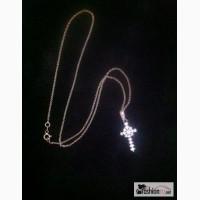 Крест с крупными бриллиантами и цепью в Краснодаре