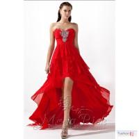Красное новое вечернее платье со шлейфом