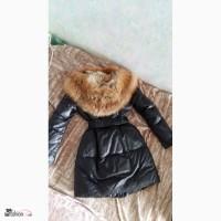 Женский кожаный пуховик с лисой