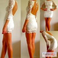 Новое кружевное белое платье с открытой спиной