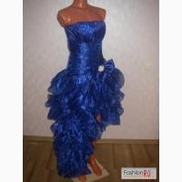 Вечернее синее платье спереди короткое сбоку длинное