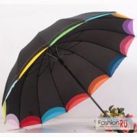Зонт черный с радужными краями трость в Санкт-Петербурге