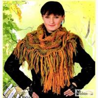 Новую вязаную женскую ажурную косынку с кистями ручная работа п в Новосибирске