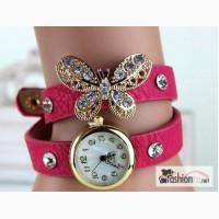 Часы Butterfly Gold Crystal розовые W143 в Ростове-на-Дону