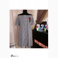 Платье в полоску с вышивкой Артикул: Ам9423