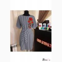 Платье в полоску с вышивкой Артикул: Ам9420