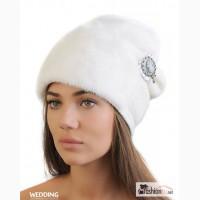 Белая шапка из норки женская в Москве